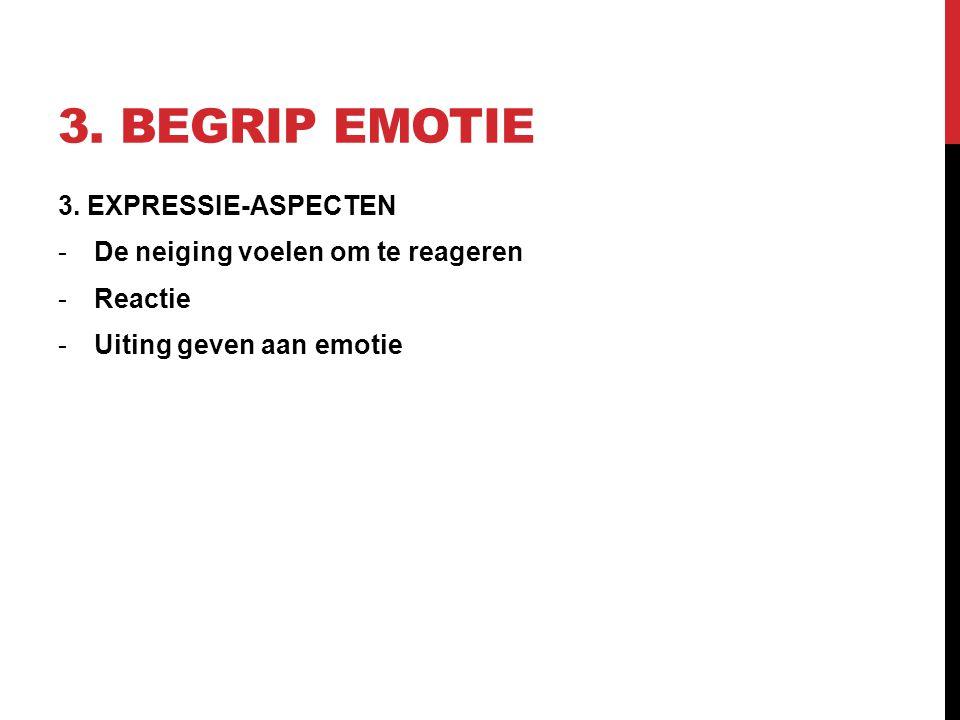 3. BEGRIP EMOTIE 3. EXPRESSIE-ASPECTEN -De neiging voelen om te reageren -Reactie -Uiting geven aan emotie