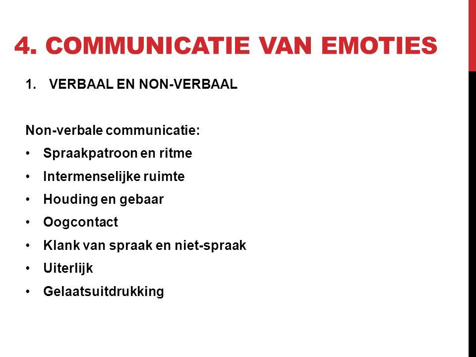 4. COMMUNICATIE VAN EMOTIES 1.VERBAAL EN NON-VERBAAL Non-verbale communicatie: Spraakpatroon en ritme Intermenselijke ruimte Houding en gebaar Oogcont