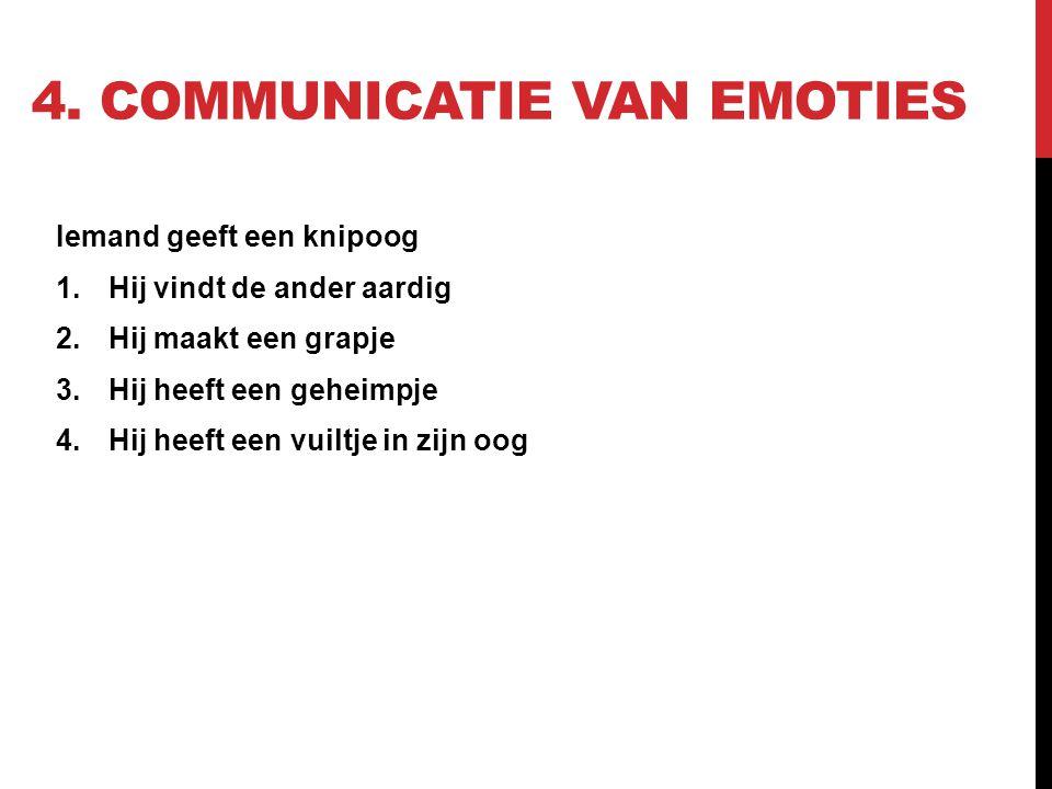 4. COMMUNICATIE VAN EMOTIES Iemand geeft een knipoog 1.Hij vindt de ander aardig 2.Hij maakt een grapje 3.Hij heeft een geheimpje 4.Hij heeft een vuil