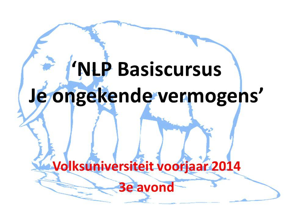 'NLP Basiscursus Je ongekende vermogens' Volksuniversiteit voorjaar 2014 3e avond