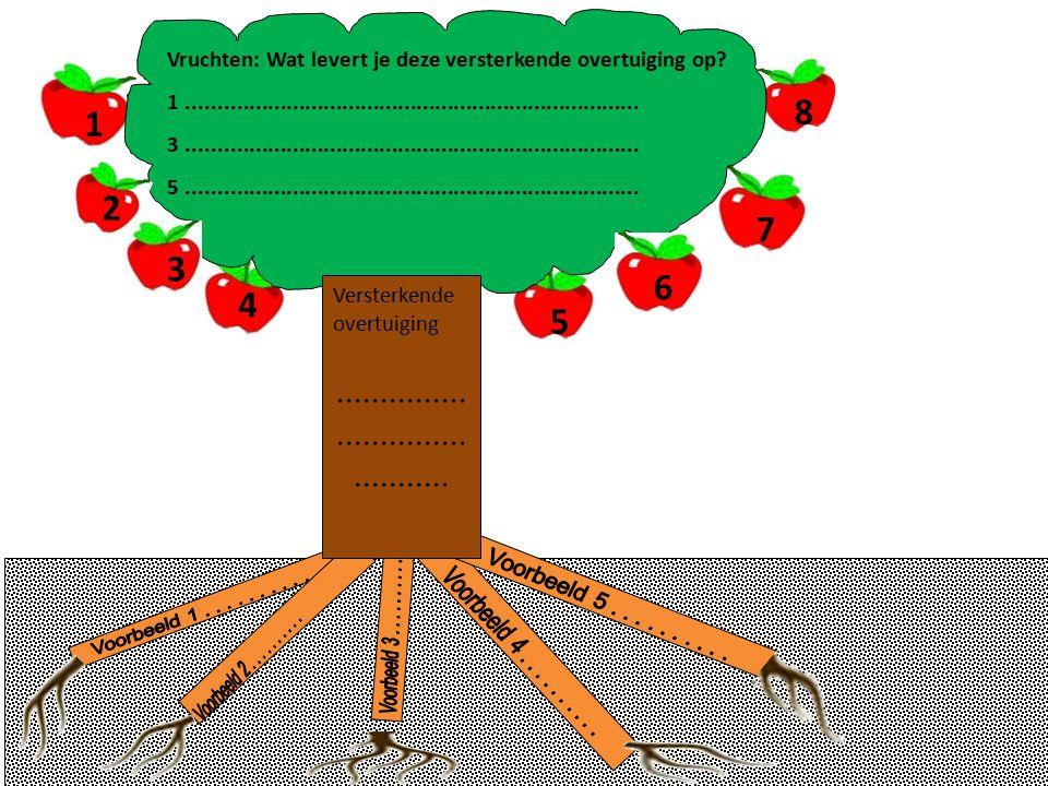 Versterkende overtuiging......................................... Vruchten: Wat levert je deze versterkende overtuiging op? 1.........................