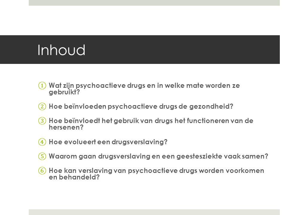 Inhoud ① Wat zijn psychoactieve drugs en in welke mate worden ze gebruikt? ② Hoe beïnvloeden psychoactieve drugs de gezondheid? ③ Hoe beïnvloedt het g
