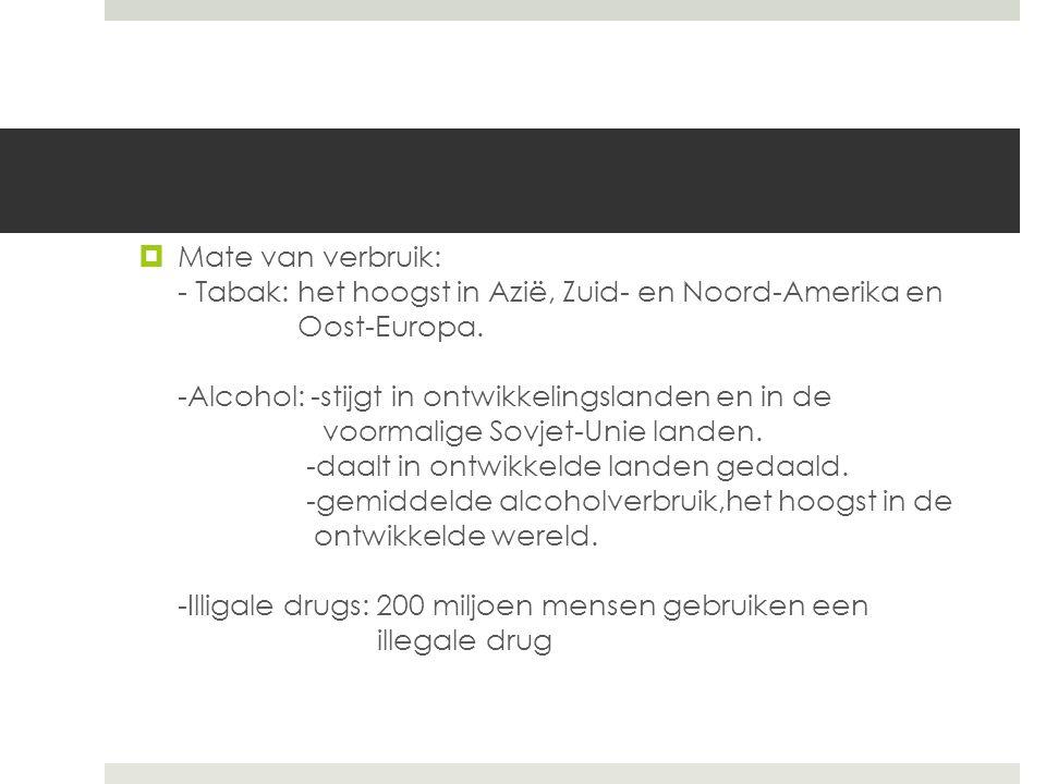  Mate van verbruik: - Tabak: het hoogst in Azië, Zuid- en Noord-Amerika en Oost-Europa. -Alcohol: -stijgt in ontwikkelingslanden en in de voormalige