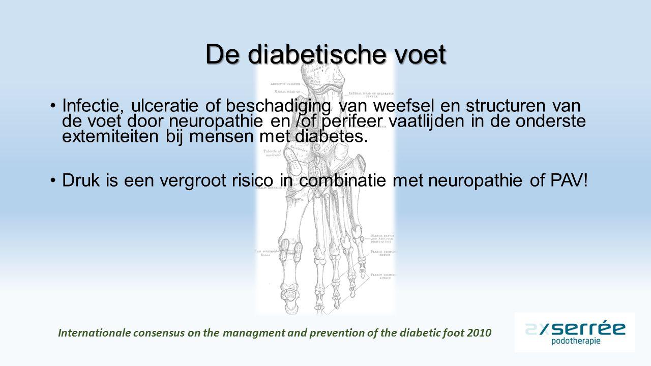 De diabetische voet Infectie, ulceratie of beschadiging van weefsel en structuren van de voet door neuropathie en /of perifeer vaatlijden in de onderste extemiteiten bij mensen met diabetes.