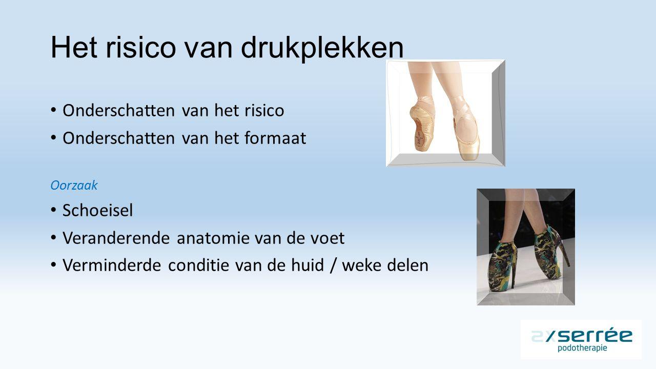 Het risico van drukplekken Onderschatten van het risico Onderschatten van het formaat Oorzaak Schoeisel Veranderende anatomie van de voet Verminderde conditie van de huid / weke delen