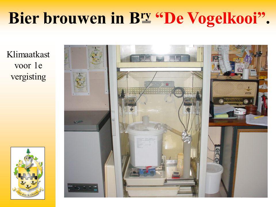 """Klimaatkast voor 1e vergisting Bier brouwen in B ry """"De Vogelkooi""""."""