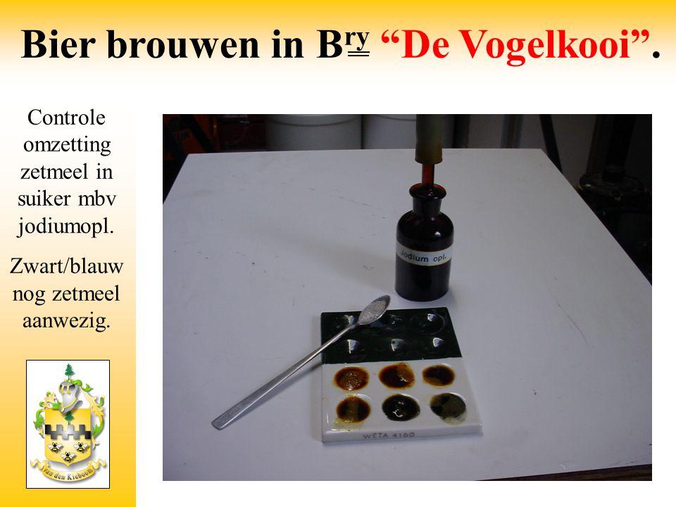 Controle omzetting zetmeel in suiker mbv jodiumopl. Zwart/blauw nog zetmeel aanwezig.