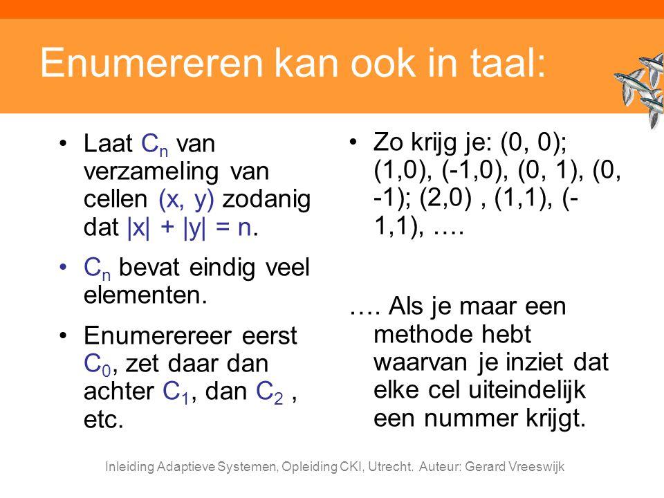 Inleiding Adaptieve Systemen, Opleiding CKI, Utrecht. Auteur: Gerard Vreeswijk Enumereren kan ook in taal: Zo krijg je: (0, 0); (1,0), (-1,0), (0, 1),