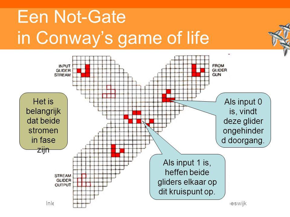 Inleiding Adaptieve Systemen, Opleiding CKI, Utrecht. Auteur: Gerard Vreeswijk Een Not-Gate in Conway's game of life Als input 1 is, heffen beide glid