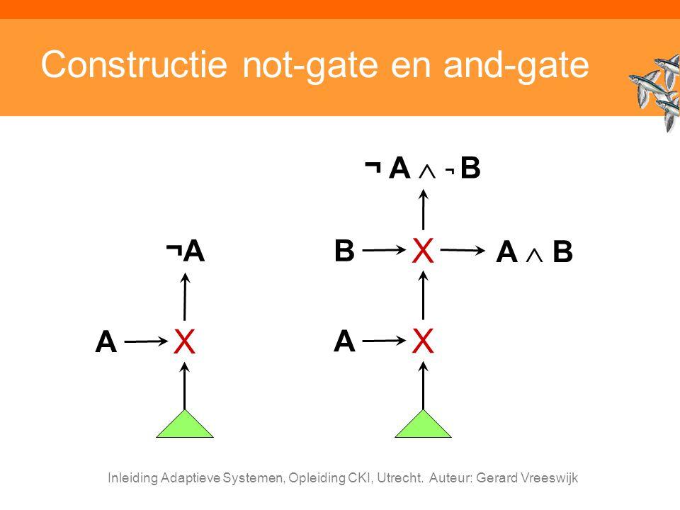 Inleiding Adaptieve Systemen, Opleiding CKI, Utrecht. Auteur: Gerard Vreeswijk Constructie not-gate en and-gate ¬A¬A A X A X B X A  B ¬ A  ¬ B