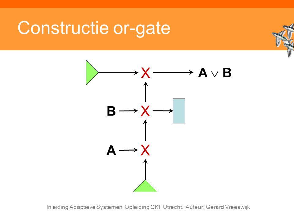 Inleiding Adaptieve Systemen, Opleiding CKI, Utrecht. Auteur: Gerard Vreeswijk Constructie or-gate A X B X A  B X