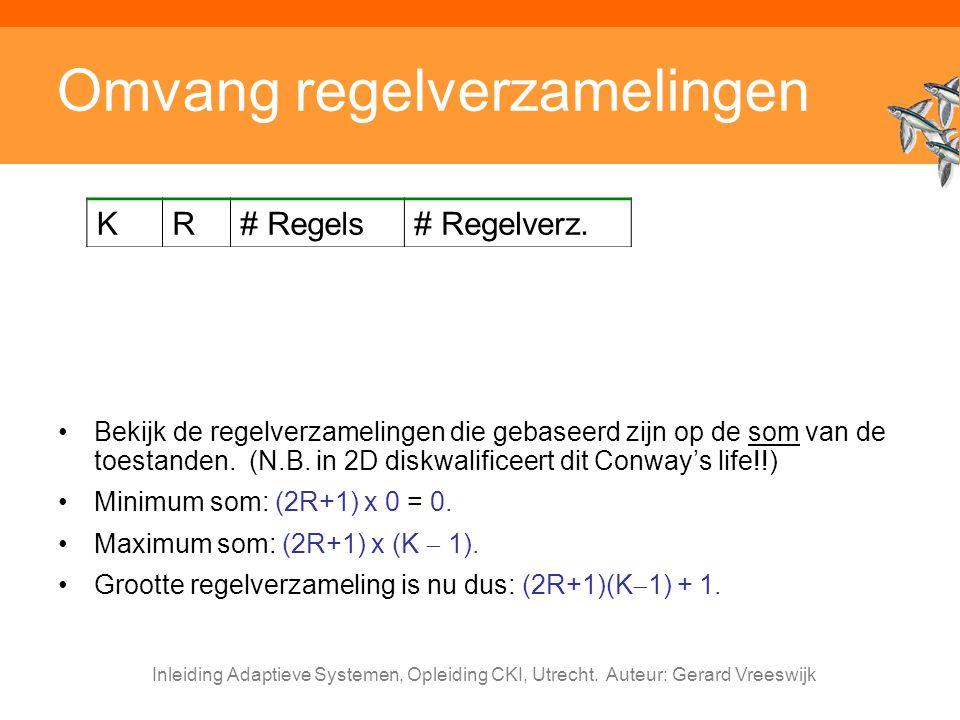 Inleiding Adaptieve Systemen, Opleiding CKI, Utrecht. Auteur: Gerard Vreeswijk Omvang regelverzamelingen Bekijk de regelverzamelingen die gebaseerd zi