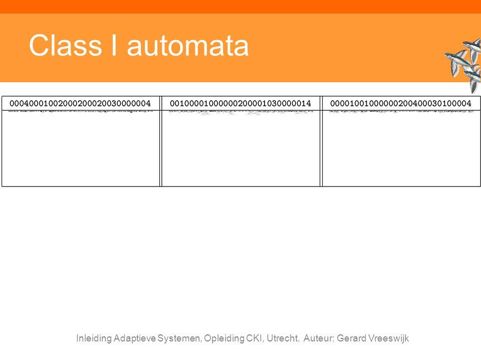 Inleiding Adaptieve Systemen, Opleiding CKI, Utrecht. Auteur: Gerard Vreeswijk Class I automata