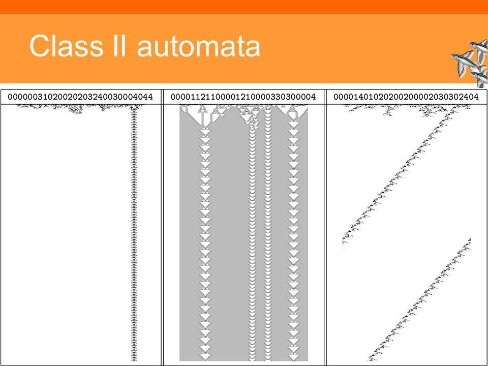 Inleiding Adaptieve Systemen, Opleiding CKI, Utrecht. Auteur: Gerard Vreeswijk Class II automata