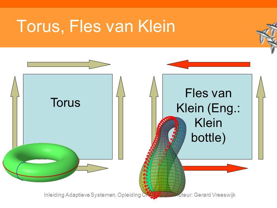 Inleiding Adaptieve Systemen, Opleiding CKI, Utrecht. Auteur: Gerard Vreeswijk Torus, Fles van Klein Torus Fles van Klein (Eng.: Klein bottle)