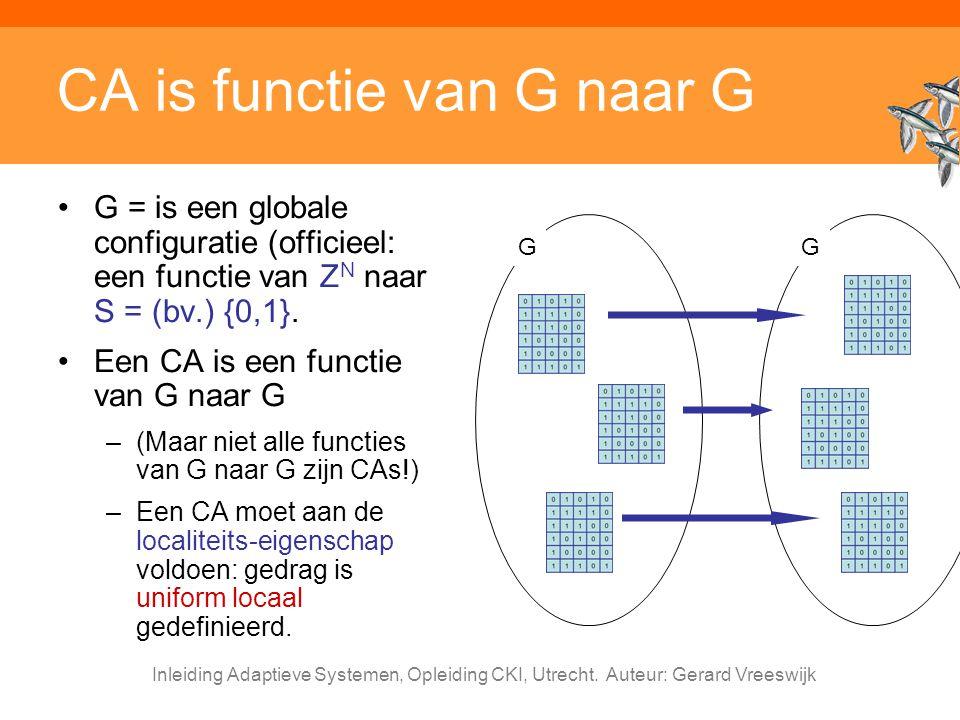Inleiding Adaptieve Systemen, Opleiding CKI, Utrecht. Auteur: Gerard Vreeswijk CA is functie van G naar G G = is een globale configuratie (officieel:
