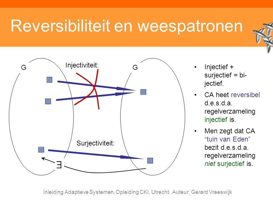Inleiding Adaptieve Systemen, Opleiding CKI, Utrecht. Auteur: Gerard Vreeswijk Reversibiliteit en weespatronen Injectief + surjectief = bi- jectief. C