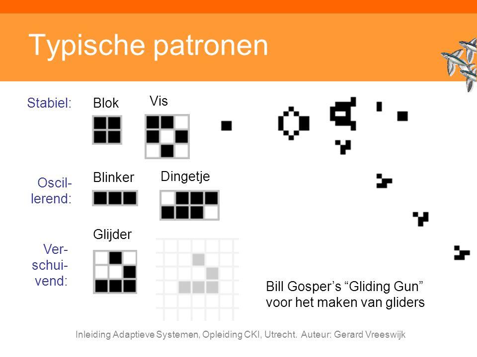 """Inleiding Adaptieve Systemen, Opleiding CKI, Utrecht. Auteur: Gerard Vreeswijk Typische patronen Bill Gosper's """"Gliding Gun"""" voor het maken van glider"""