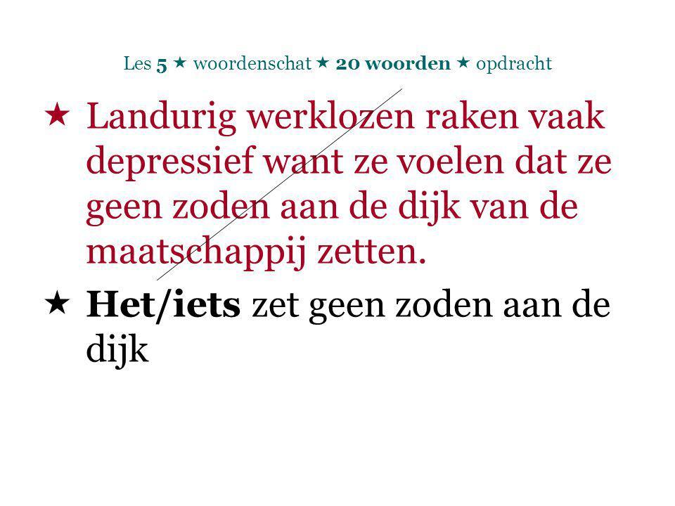 Les 5  woordenschat  20 woorden  opdracht  Landurig werklozen raken vaak depressief want ze voelen dat ze geen zoden aan de dijk van de maatschappij zetten.
