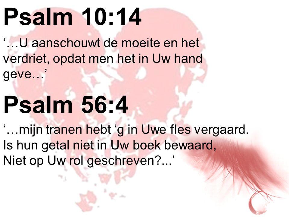 Psalm 10:14 '…U aanschouwt de moeite en het verdriet, opdat men het in Uw hand geve…' Psalm 56:4 '…mijn tranen hebt 'g in Uwe fles vergaard. Is hun ge