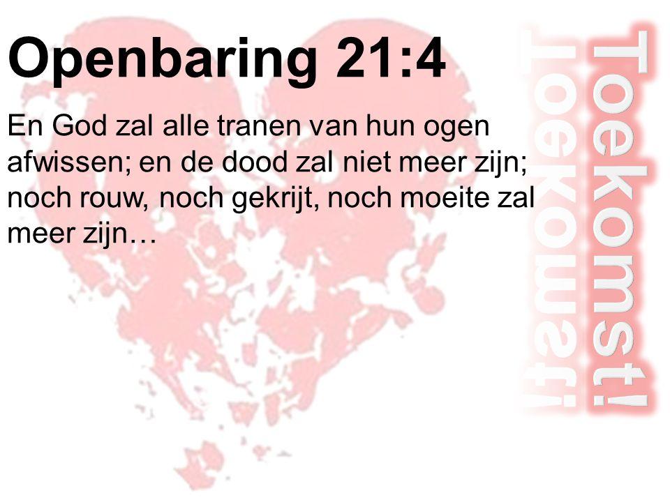 Openbaring 21:4 En God zal alle tranen van hun ogen afwissen; en de dood zal niet meer zijn; noch rouw, noch gekrijt, noch moeite zal meer zijn…