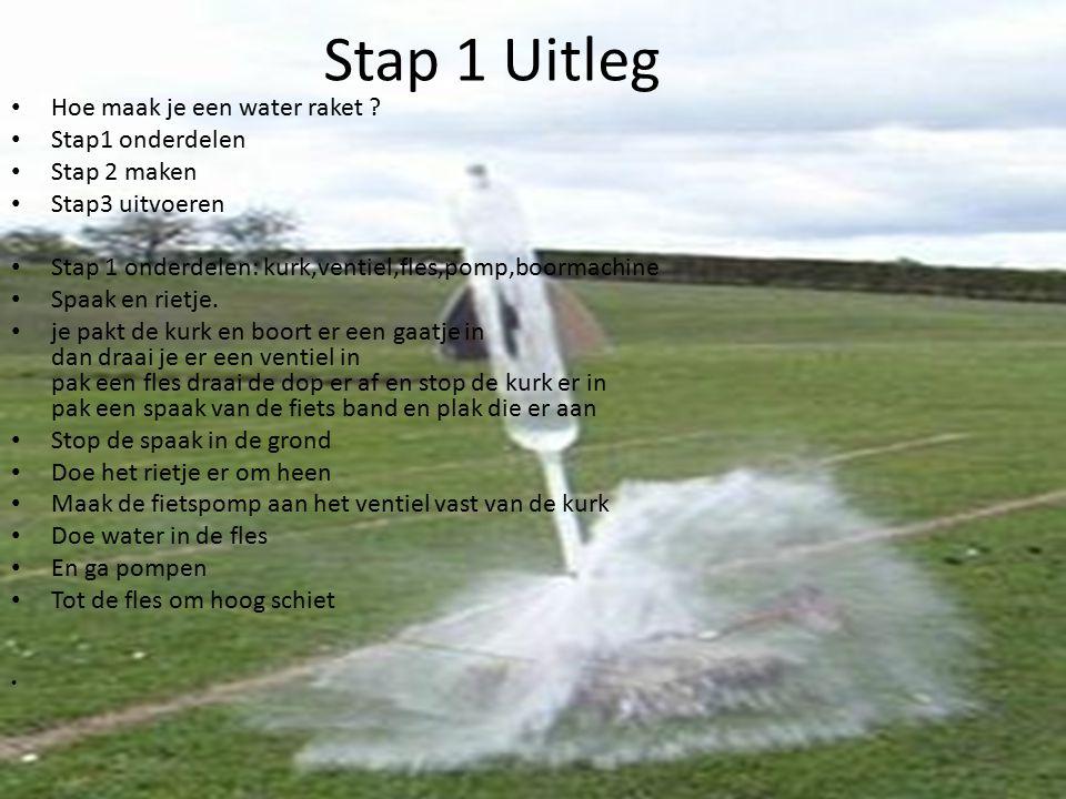 Stap 1 Uitleg Hoe maak je een water raket ? Stap1 onderdelen Stap 2 maken Stap3 uitvoeren Stap 1 onderdelen: kurk,ventiel,fles,pomp,boormachine Spaak