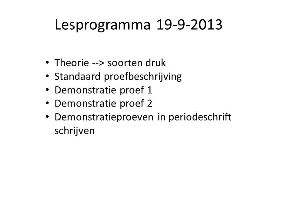 Lesprogramma 19-9-2013 Theorie --> soorten druk Standaard proefbeschrijving Demonstratie proef 1 Demonstratie proef 2 Demonstratieproeven in periodesc