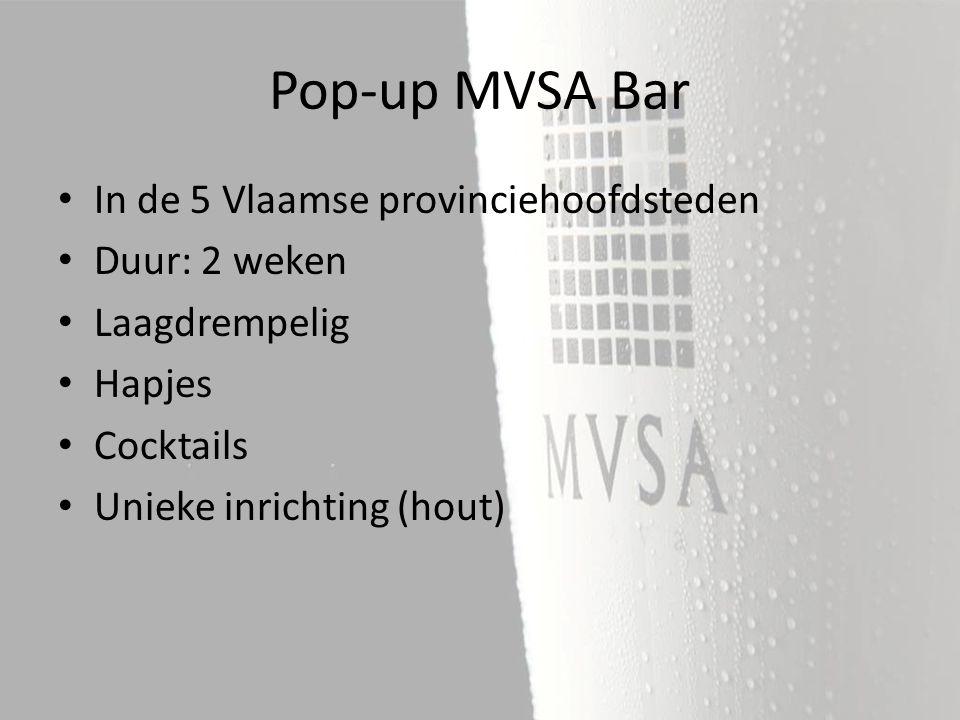 In de 5 Vlaamse provinciehoofdsteden Duur: 2 weken Laagdrempelig Hapjes Cocktails Unieke inrichting (hout) Pop-up MVSA Bar