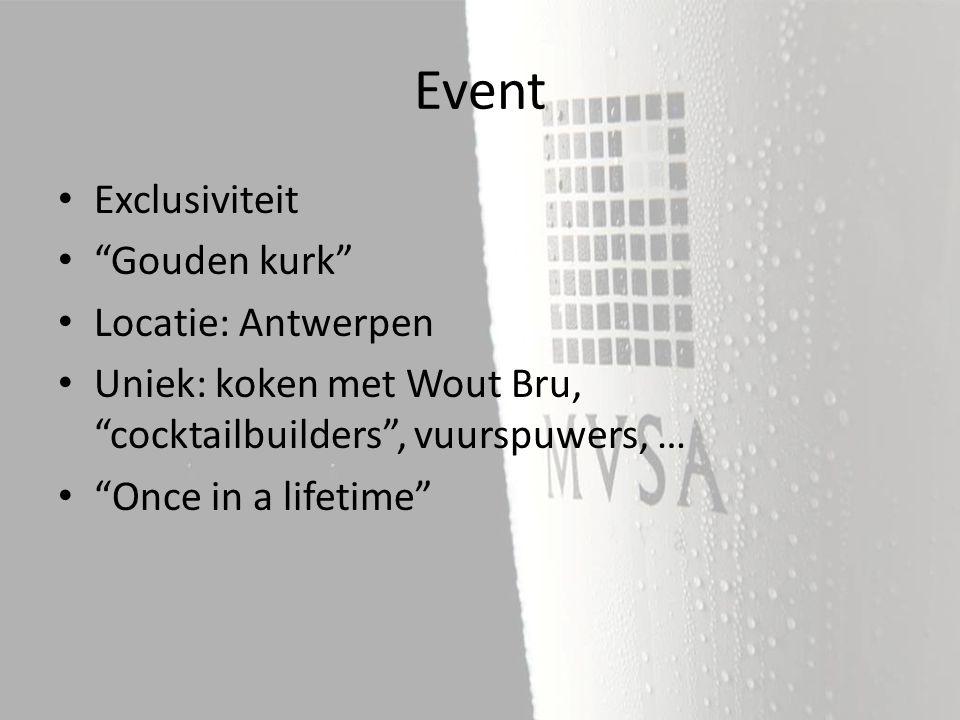 Exclusiviteit Gouden kurk Locatie: Antwerpen Uniek: koken met Wout Bru, cocktailbuilders , vuurspuwers, … Once in a lifetime Event