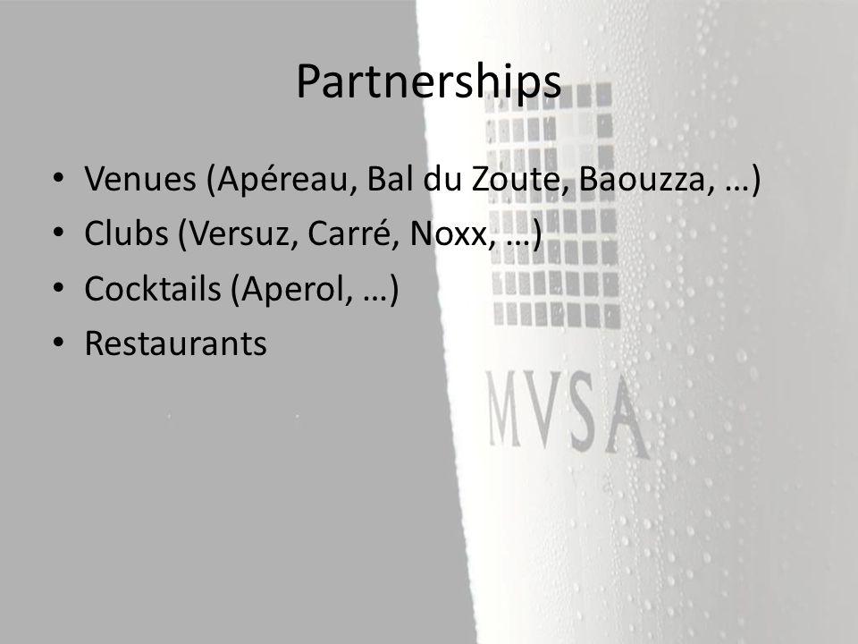 Venues (Apéreau, Bal du Zoute, Baouzza, …) Clubs (Versuz, Carré, Noxx, …) Cocktails (Aperol, …) Restaurants Partnerships