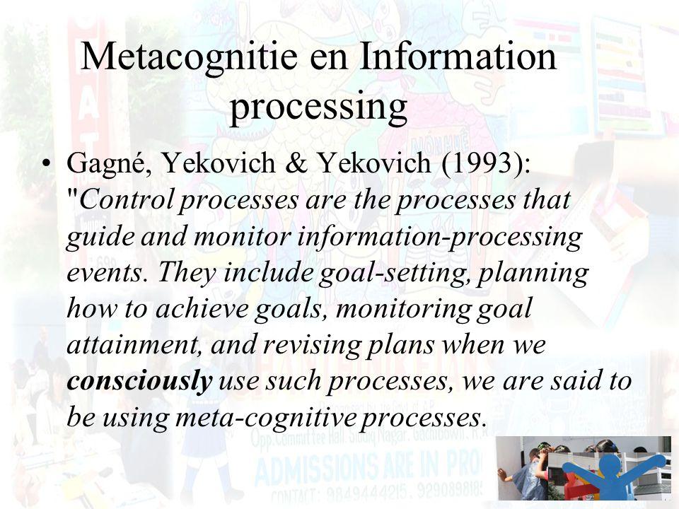 Metacognitie en Information processing Gagné, Yekovich & Yekovich (1993):