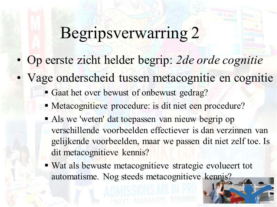 Begripsverwarring 2 Op eerste zicht helder begrip: 2de orde cognitie Vage onderscheid tussen metacognitie en cognitie  Gaat het over bewust of onbewu