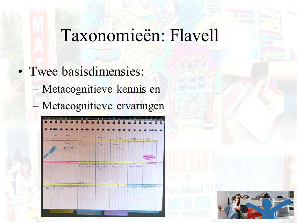 Taxonomieën: Flavell Twee basisdimensies: –Metacognitieve kennis en –Metacognitieve ervaringen