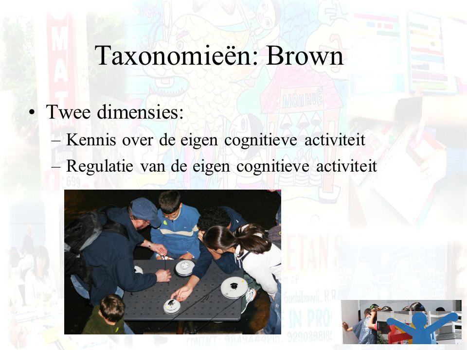 Taxonomieën: Brown Twee dimensies: –Kennis over de eigen cognitieve activiteit –Regulatie van de eigen cognitieve activiteit