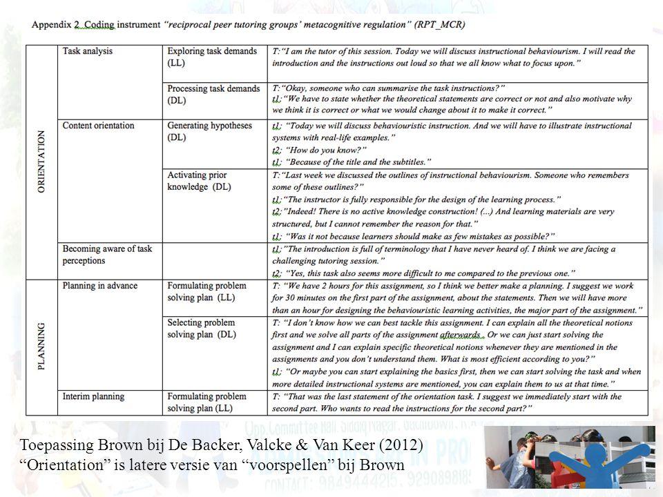 """Toepassing Brown bij De Backer, Valcke & Van Keer (2012) """"Orientation"""" is latere versie van """"voorspellen"""" bij Brown"""