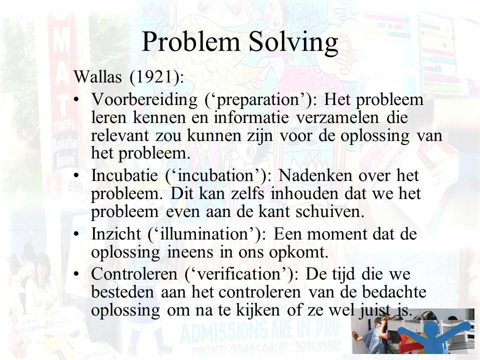 Problem Solving Wallas (1921): Voorbereiding ('preparation'): Het probleem leren kennen en informatie verzamelen die relevant zou kunnen zijn voor de