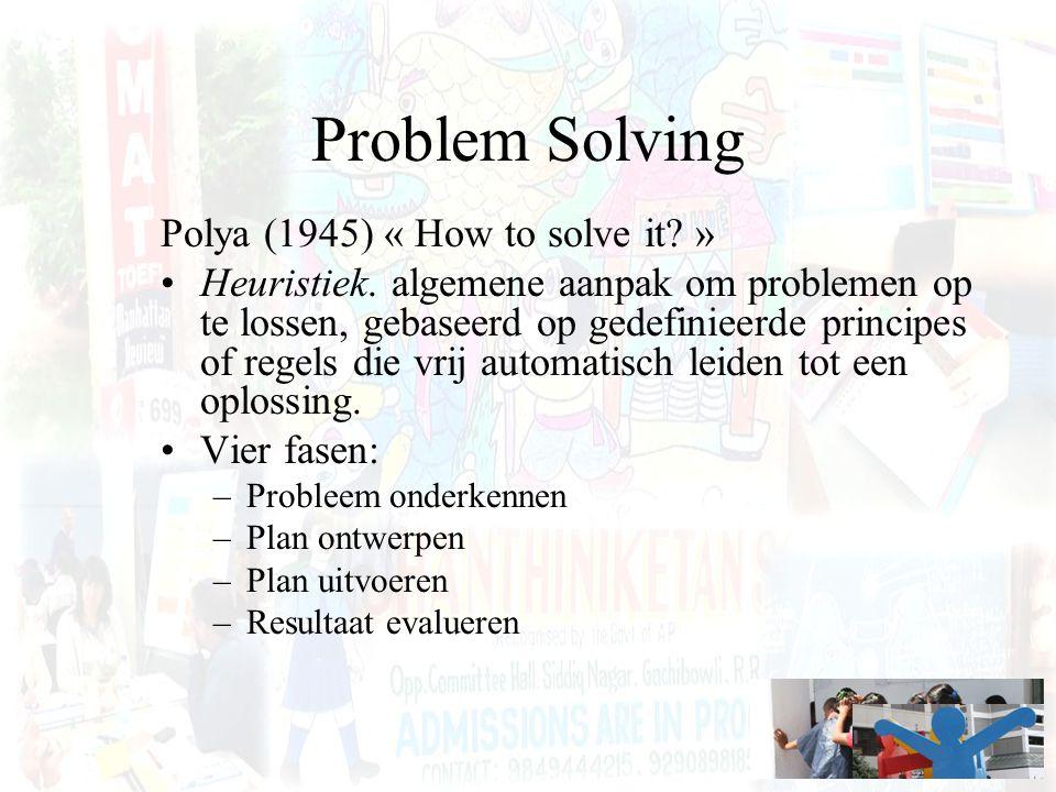 Problem Solving Polya (1945) « How to solve it.» Heuristiek.