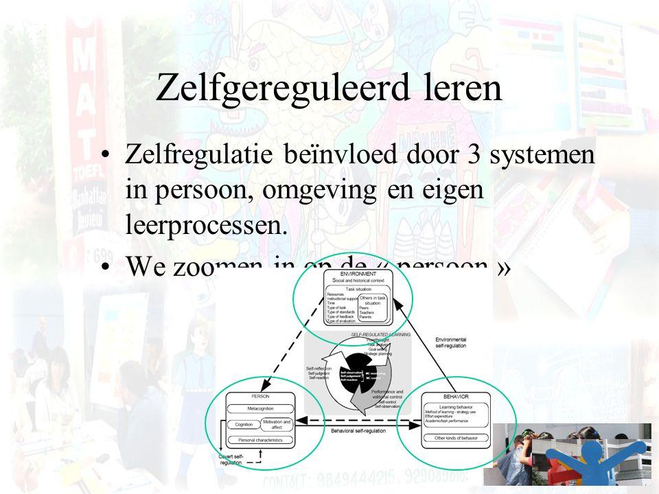 Zelfgereguleerd leren Zelfregulatie beïnvloed door 3 systemen in persoon, omgeving en eigen leerprocessen. We zoomen in op de « persoon »