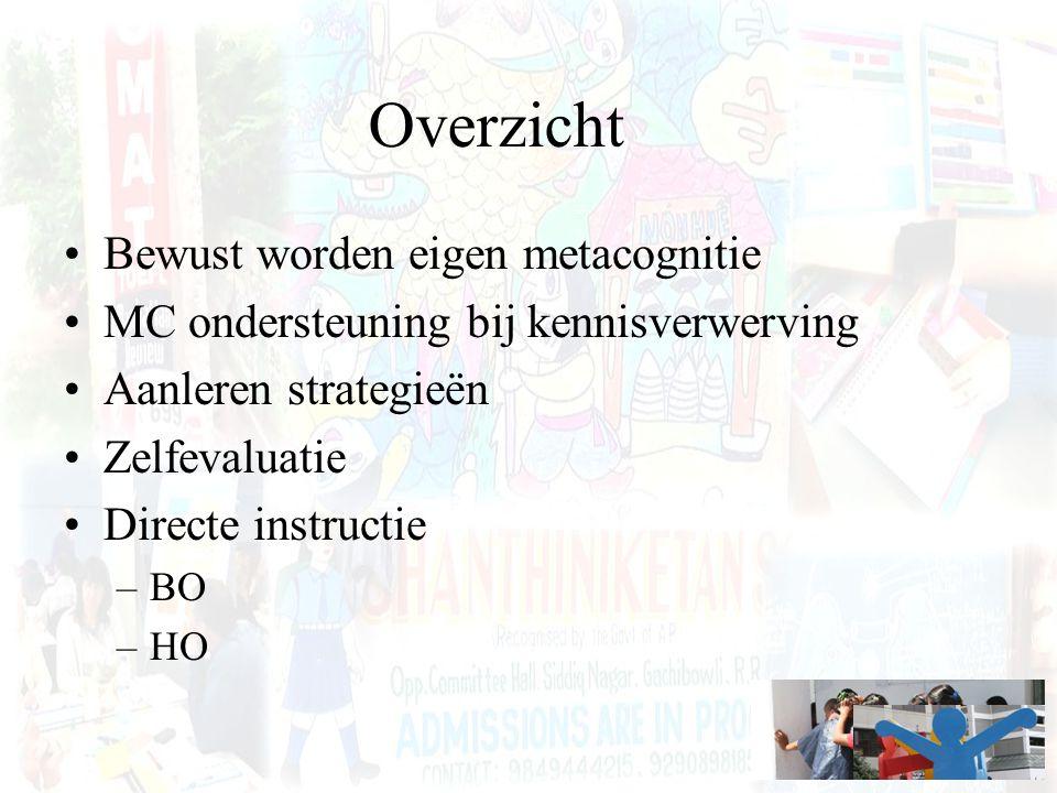 Overzicht Bewust worden eigen metacognitie MC ondersteuning bij kennisverwerving Aanleren strategieën Zelfevaluatie Directe instructie –BO –HO