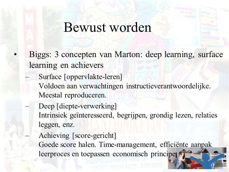 Bewust worden Biggs: 3 concepten van Marton: deep learning, surface learning en achievers –Surface [oppervlakte-leren] Voldoen aan verwachtingen instr