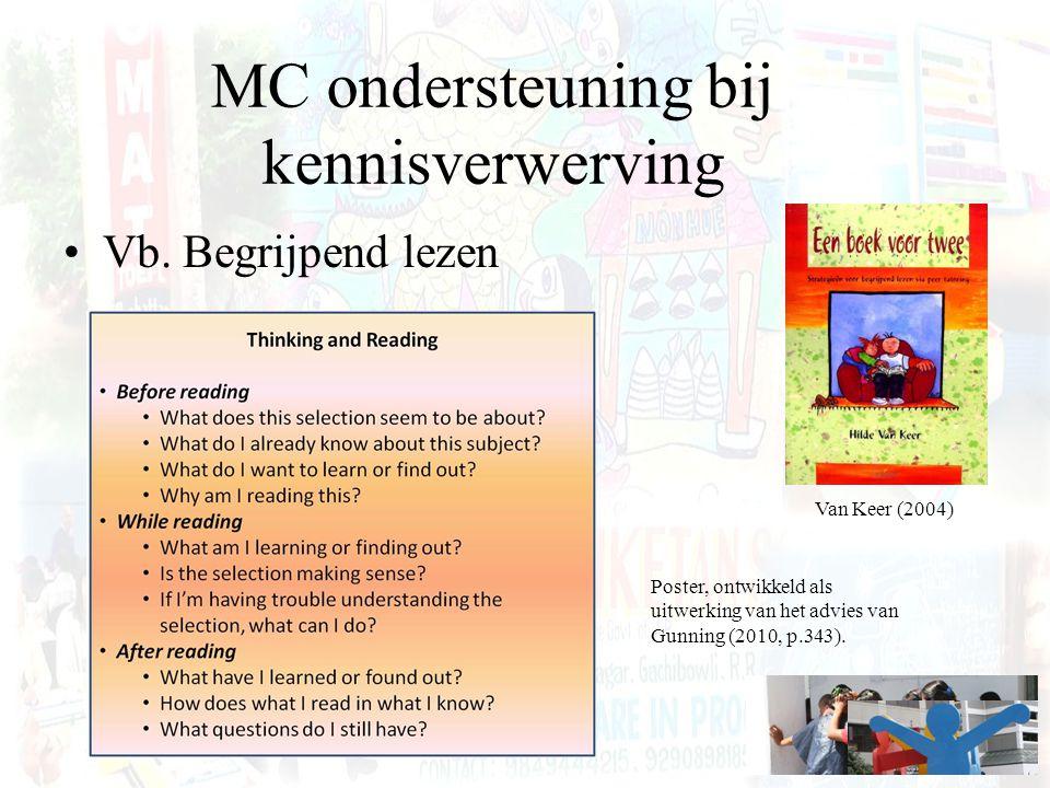 MC ondersteuning bij kennisverwerving Vb. Begrijpend lezen Poster, ontwikkeld als uitwerking van het advies van Gunning (2010, p.343). Van Keer (2004)