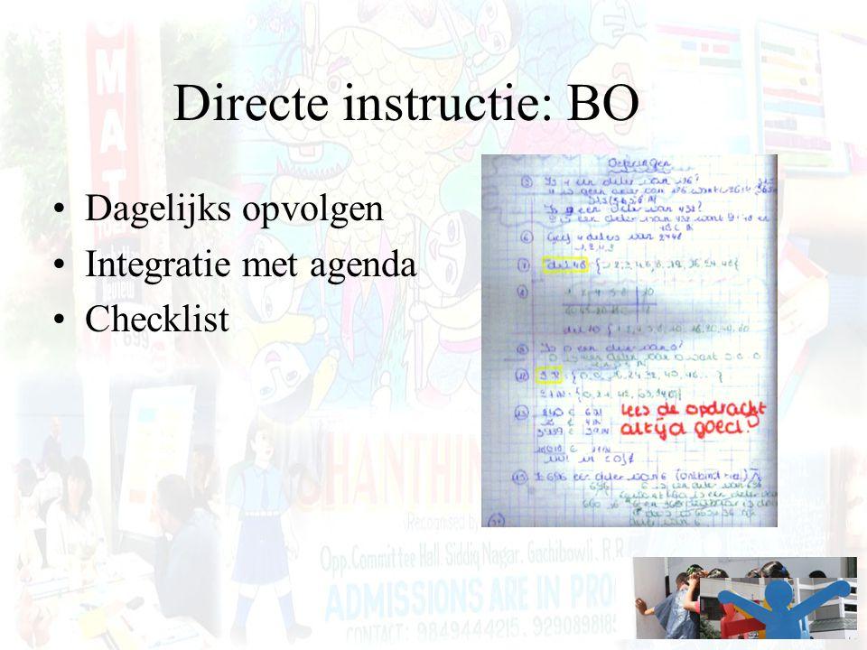 Directe instructie: BO Dagelijks opvolgen Integratie met agenda Checklist