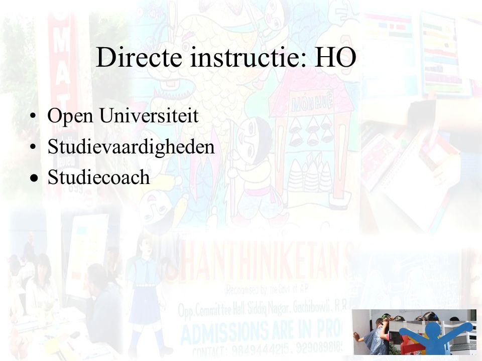 Directe instructie: HO Open Universiteit Studievaardigheden  Studiecoach