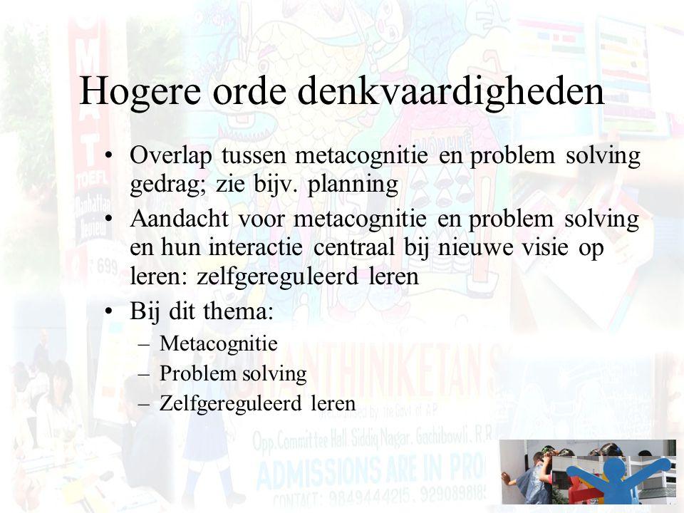 Hogere orde denkvaardigheden Overlap tussen metacognitie en problem solving gedrag; zie bijv. planning Aandacht voor metacognitie en problem solving e