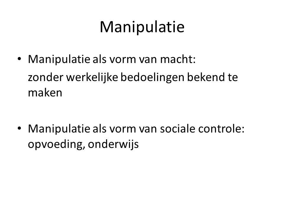 Manipulatie Manipulatie als vorm van macht: zonder werkelijke bedoelingen bekend te maken Manipulatie als vorm van sociale controle: opvoeding, onderwijs