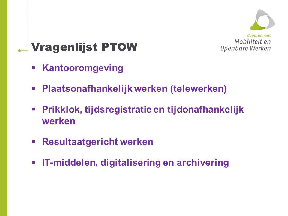 Vragenlijst PTOW  Kantooromgeving  Plaatsonafhankelijk werken (telewerken)  Prikklok, tijdsregistratie en tijdonafhankelijk werken  Resultaatgeric