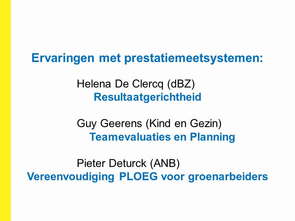 Ervaringen met prestatiemeetsystemen: Helena De Clercq (dBZ) Resultaatgerichtheid Guy Geerens (Kind en Gezin) Teamevaluaties en Planning Pieter Deturc