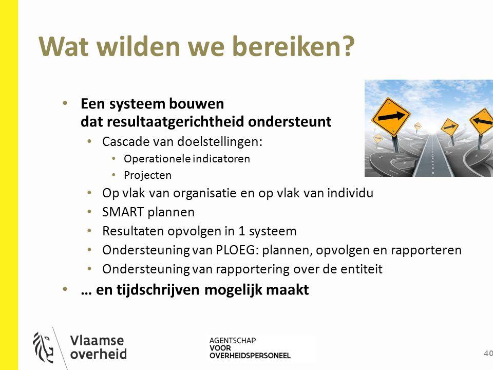 Wat wilden we bereiken? 40 Een systeem bouwen dat resultaatgerichtheid ondersteunt Cascade van doelstellingen: Operationele indicatoren Projecten Op v