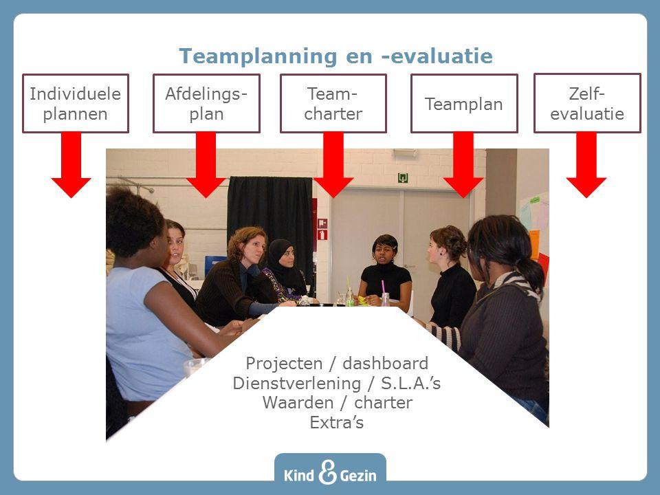 Teamplanning en -evaluatie Individuele plannen Afdelings- plan Team- charter Teamplan Zelf- evaluatie Projecten / dashboard Dienstverlening / S.L.A.'s