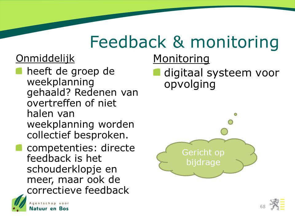 Feedback & monitoring Onmiddelijk heeft de groep de weekplanning gehaald? Redenen van overtreffen of niet halen van weekplanning worden collectief bes